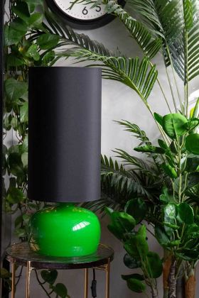 Lifestyle image of the Retro Seventies Green Table Lamp With Shade