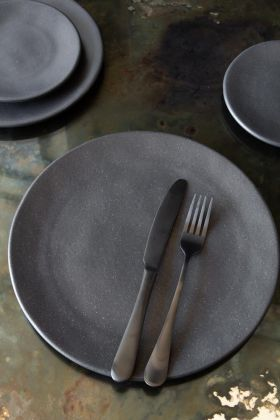 Image of the Roda Matt Black Stoneware Large Dinner Plate