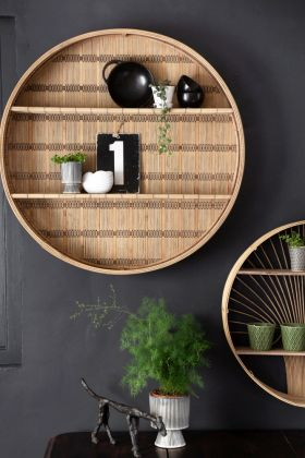 Close-up lifestyle image of the Round Bamboo Shelf