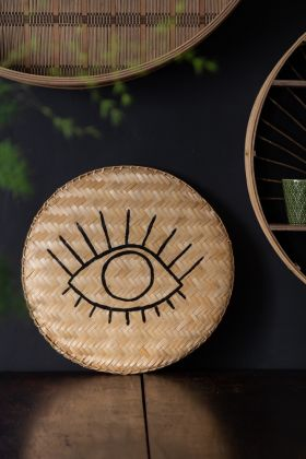 Front on image of the Round Bamboo Tray With Hand-Painted Eye