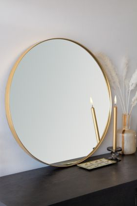 Image of the Large Round Gold Framed Wall Mirror
