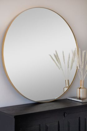 Image of the Extra Large Round Gold Framed Wall Mirror