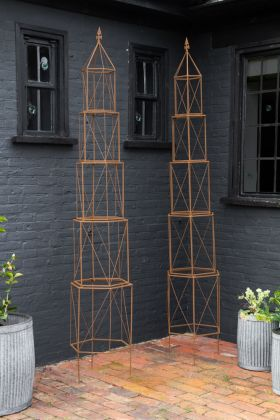 Image of the Set Of 2 Antiqued Rusted Garden Stands