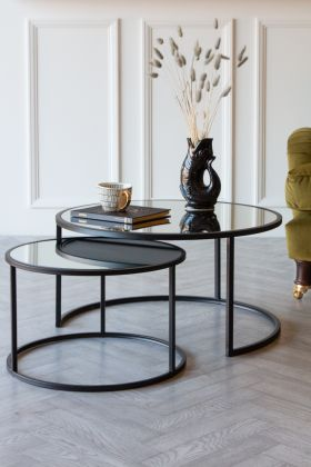 Image of the Set Of 2 Black & Mirrored Nest Of Side Tables / Coffee Tables