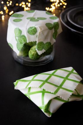 Set Of 2 Eco Beeswax Food Wraps - Brussels Sprout