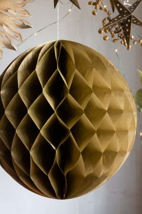Image of the Honeycomb Ball Decoration In Gold hanging