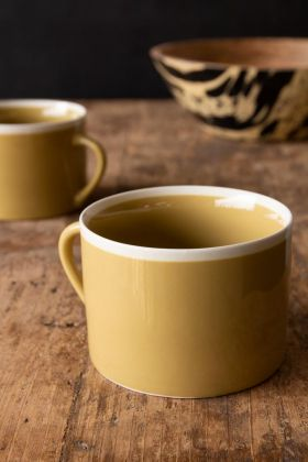 Image of the Set Of 2 Large Mustard Coffee Mugs With White Rim