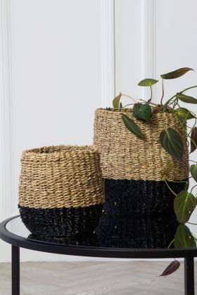 Image of the Set Of 2 Natural Seagrass Baskets With Black Bottoms