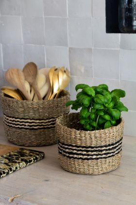 Image of the Set Of 2 Natural Seagrass Baskets With Stripe