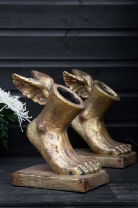 Image of the Set Of 2 Small Gold Effect Winged Foot Planters