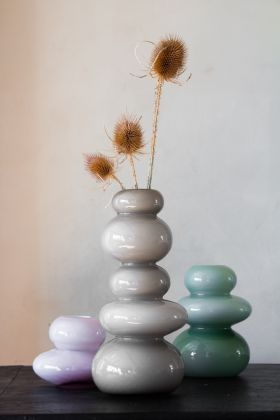 Image of all 3 sizes & colours available in the Stacked Bubble Glass Vase collection