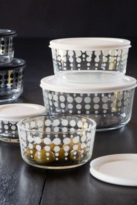 Image of the Set Of 4 Clear Storage Bowls With White Spot Pattern & Lids