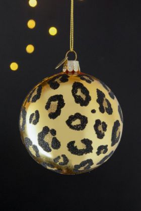 Image of the Shiny Gold Christmas Bauble with Leopard Spots