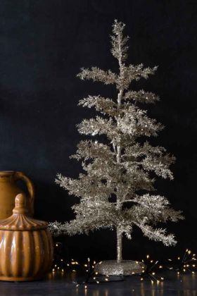 Silver Glitter Christmas Tree Table Decoration