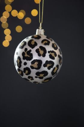 Silver Leopard Print Bauble Christmas Tree Decoration