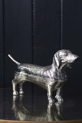 Image of the Dachshund Sausage Dog Silver Trinket Storage Box looking to the right