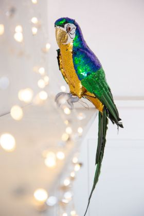 Close-up lifestyle image of the Sitting Sequin Parrot Decoration