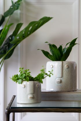 Image of the Small & Large White Stoneware Face Flower Pots