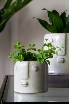 Image of the Small White Stoneware Face Flower Pot