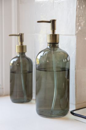 Image of the Smoked Glass Soap Dispenser Bottle - Large
