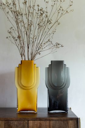 Lifestyle image of the both the Amber Glow & Smokey Grey Glass Art Deco Vases