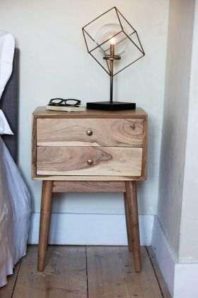 Solid Acacia Wood Bedside Table
