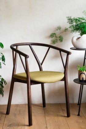 Right angle facing image of the Solid Wood Green Branch Dining Chair