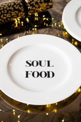 Lifestyle image of the Soul Food Fine China Plate in a festive setting