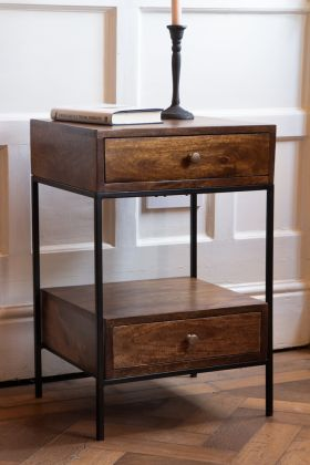 Image of the Split Level 2-Drawer Mango Wood Bedside Table