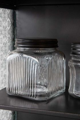 Image of the Square Glass Storage Jar With Black Metal Lid