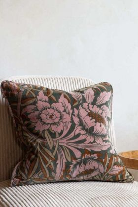 Sumptuous Floral Velvet Cushion With Piping