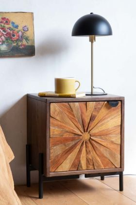 Lifestyle image of the Sunburst Sustainable Wood Bedside Table
