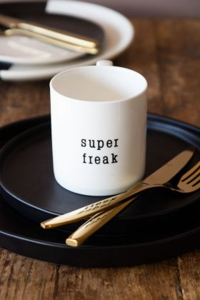 Lifestyle image of the Super Freak Mug