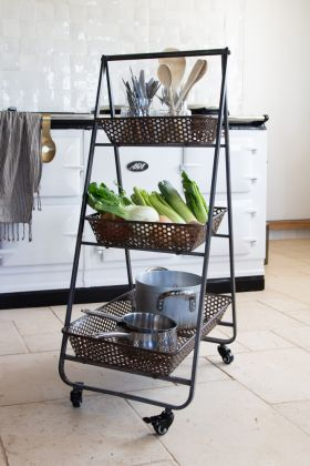 Three-Tier Pyramid Metal Tray Shelf Unit