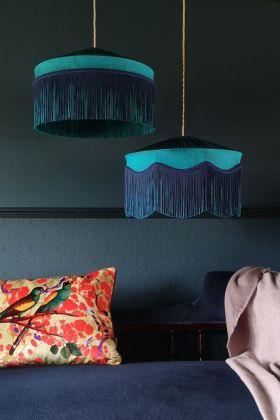 Lifestyle image of both the wavy & straight fringe options on the Bespoke Teal Silk Tiffany Lamp Shade
