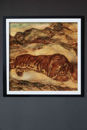 Image of the Framed Tiger Tiger Art Print hanging on the wall