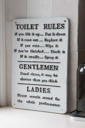 Image of the Toilet Rules Metal Sign