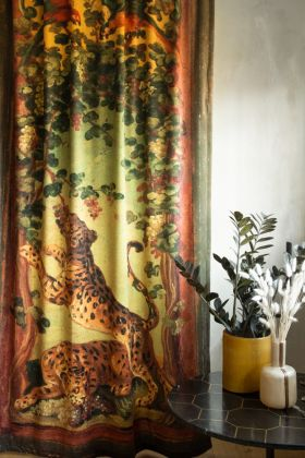 Lifestyle image of the Two Leopards Velvet Curtain Panel