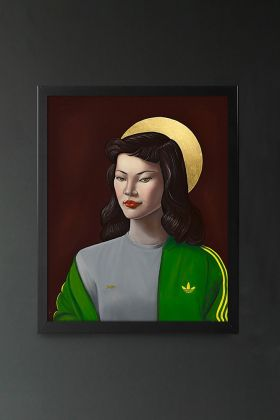 Image of the Ross Muir Limited Edition Miss Wong Art Print in a black frame