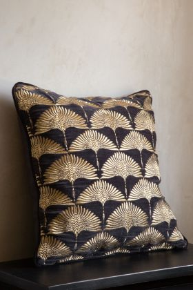 Angled image of the Velvet Cushion with Gold Art Deco Embroidery