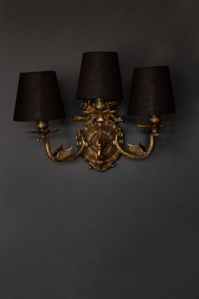 Image of the Vintage-Style Swan Wall Light With Lamp Shades hanging on the wall