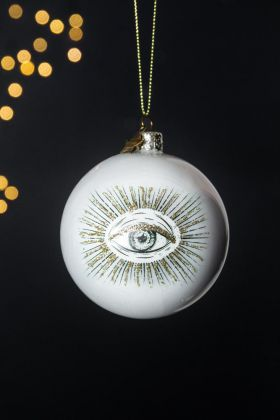 White Pearlescent Eye Bauble Christmas Tree Decoration