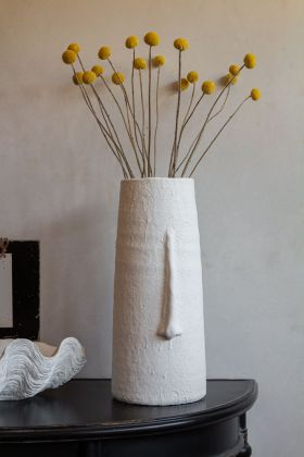 Image of the White Tall Face Vase