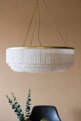 Lifestyle image of the White Three-Tier Tassel Chandelier Light