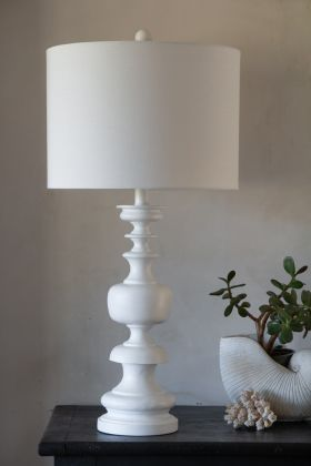 White Turned Wood Table Lamp With Linen Lamp Shade