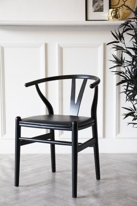 Image of the Wishbone-Style Black Dining Chair