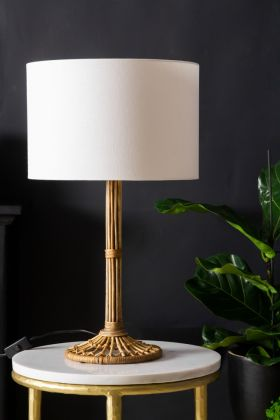 Image of the Wonderful Wicker Table Lamp With White Shade