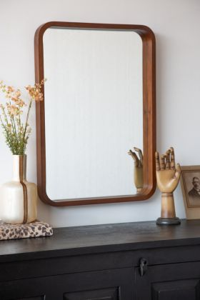Image of the Wooden Frame Wall Mirror hanging portrait