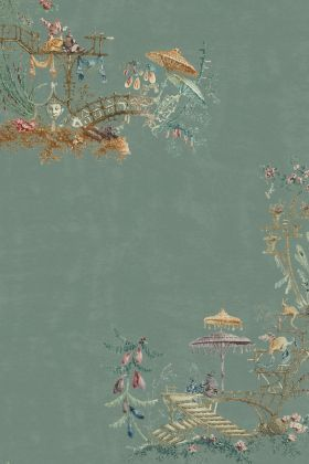 Mind The Gap Chinoiserie Wallpaper - WP20437 - Blue - ROLL