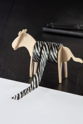 Image of the Wild Zebra Gift Wrap Tape & Stand in use
